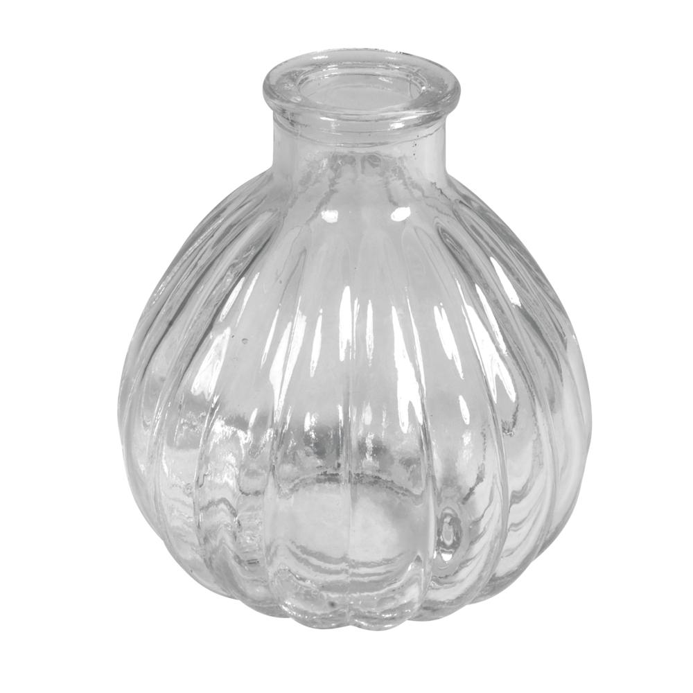 Set Mini-Vasen bauchig, gerillt, 7cm ø, 8cm, 100ml, Set 2Stück