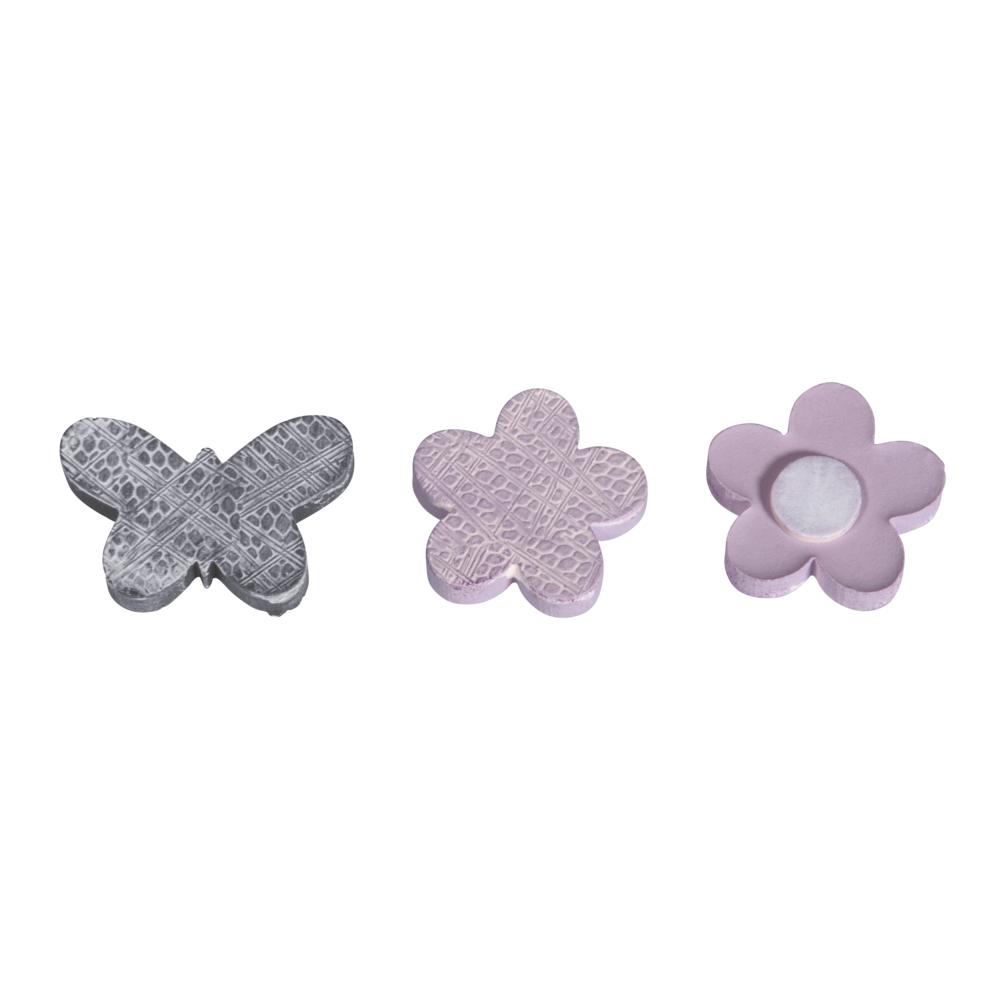 Polyresin Blüten+Schmetterlinge, m. Klebepunkt,2,7-3,5cm, SB-Btl 8Stück