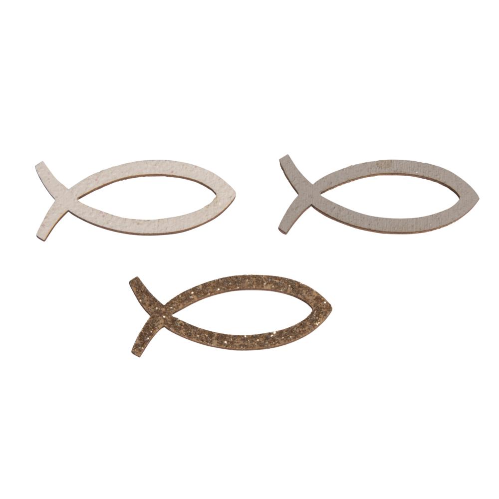 Holz-Streuteile Fisch Silhouette Glitzer, 3,3x1,3cm, farbl. sort., SB-Btl 12Stück