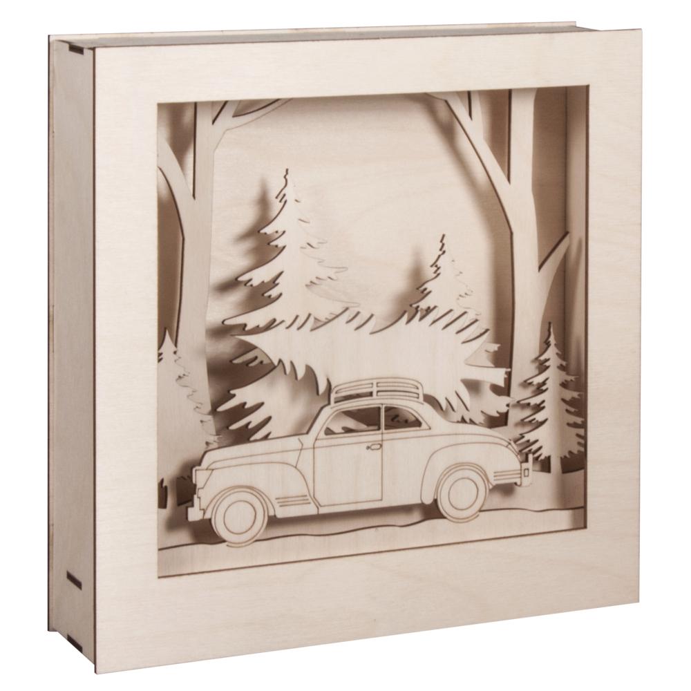 Holzbausatz 3D-Motivrahmen, Auto,FSC100%, 25,5x26x6,6cm, 14-tlg., 1Set