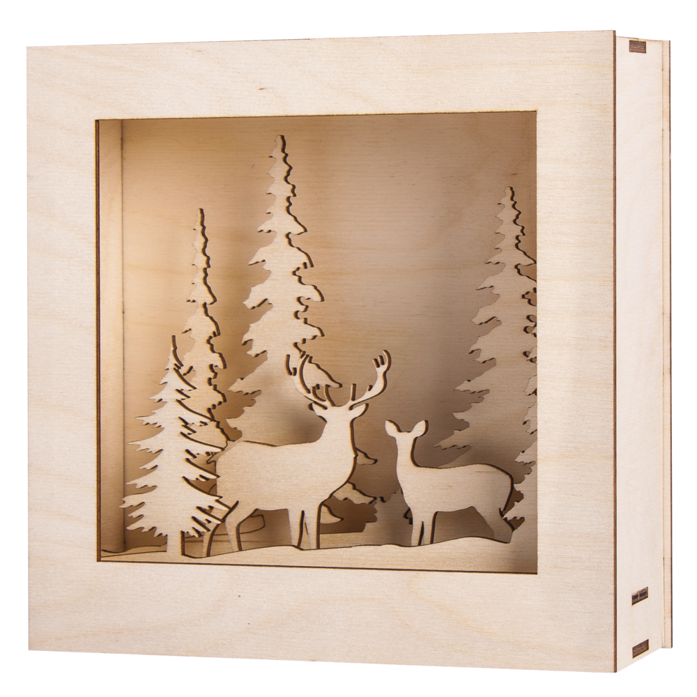 Holzbaus. 3D-Motivr.,Winterland, FSC100%, 20x20x6,6cm, 14-tlg., 1Set