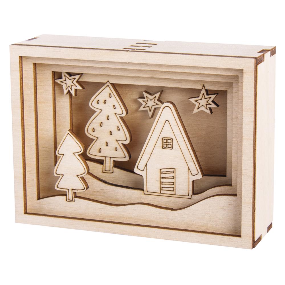 Holzbausatz 3D-Motivrahmen Mini, FSC100%, 11,5x8,5x3,2cm, 11-tlg., SB-Btl 1Set
