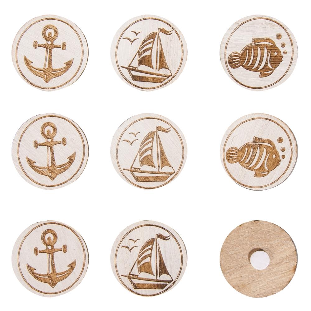 Holz-Scheiben Sealife, 3,5cm ø, mit Klebepunkt, SB-Btl 9Stück