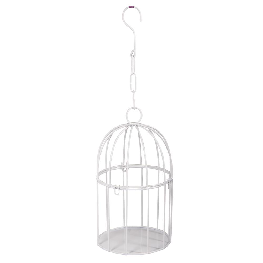 Deko-Metall-Vogelkäfig z. Hängen, 11cm ø, 20,5cm, mit Verschluss, weiß