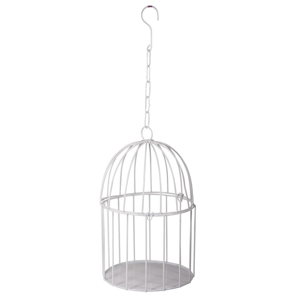 Deko-Metall-Vogelkäfig z. Hängen, 15cm ø, 25cm, mit Verschluss, weiß