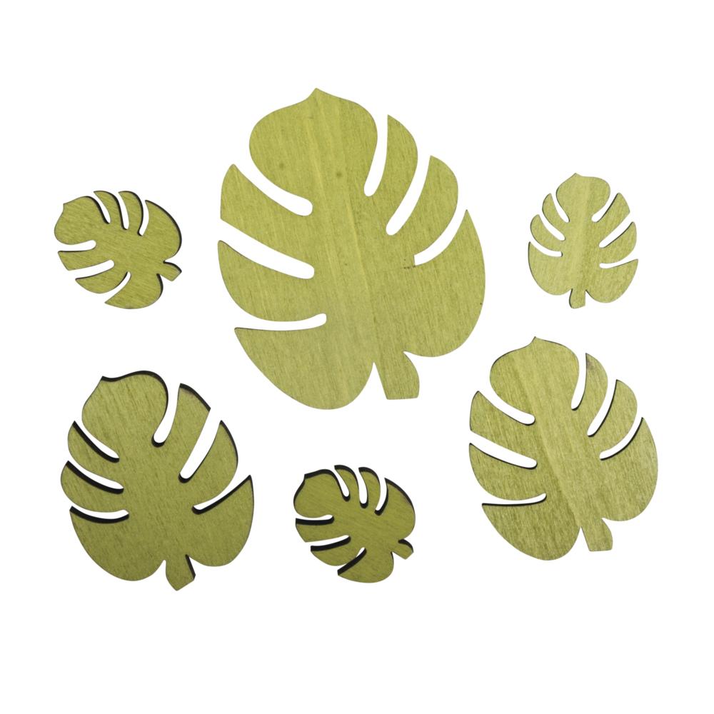 Holzstreuteil Monstera Blatt, 2,4x2,9cm-5,5x7cm, SB-Btl 6Stück, avocado