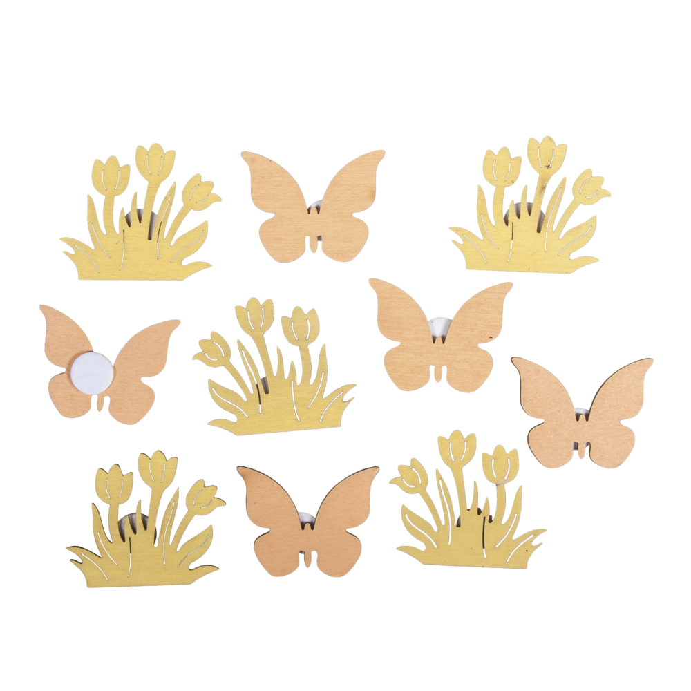 Holzstreuteil Blume+Schmetterling, 3cm ø, sort.m.Klebep., SB-Btl 10Stück