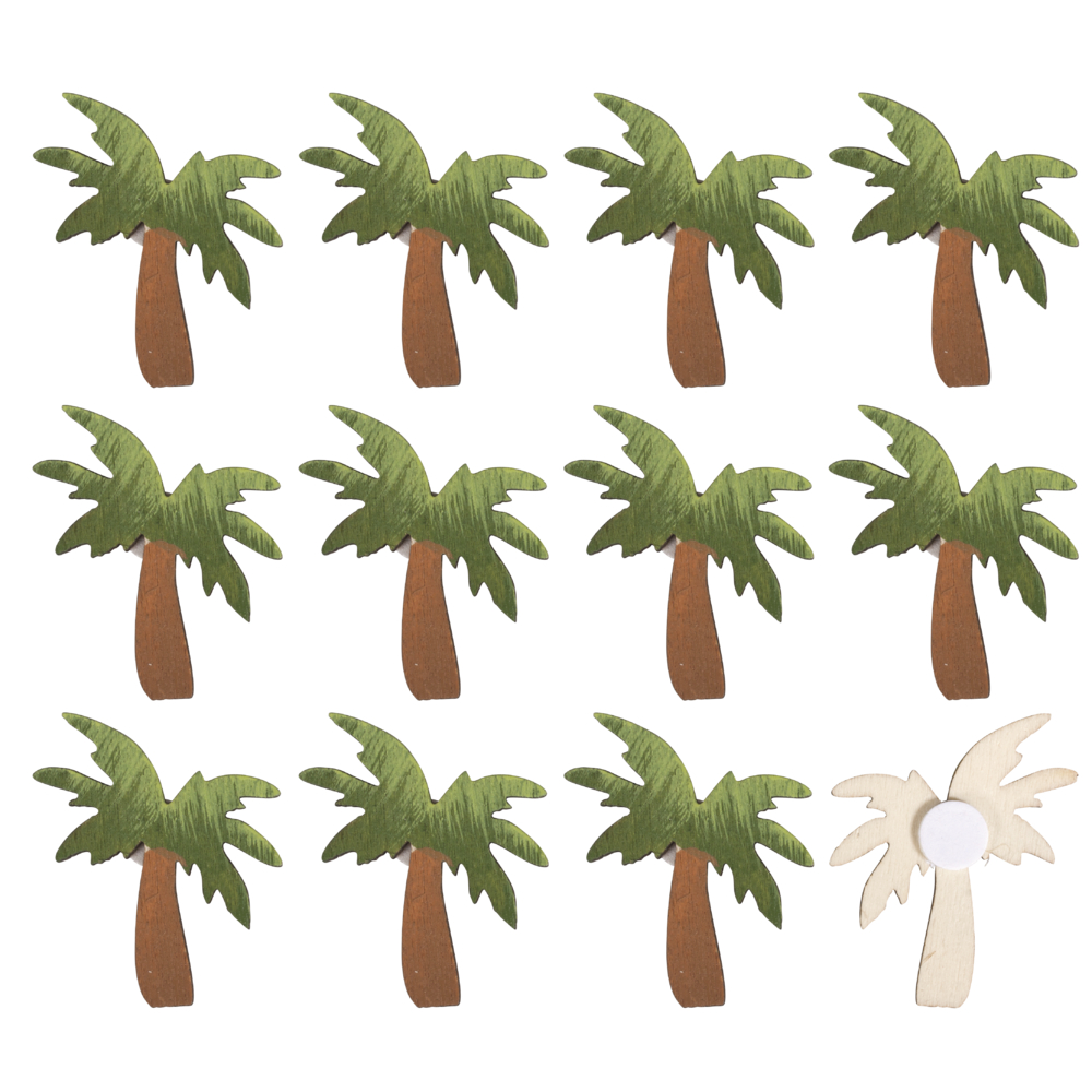 Holz-Streuteile Palmen mit Klebepunkt, 3,8x4,2cm, SB-Btl 12Stück
