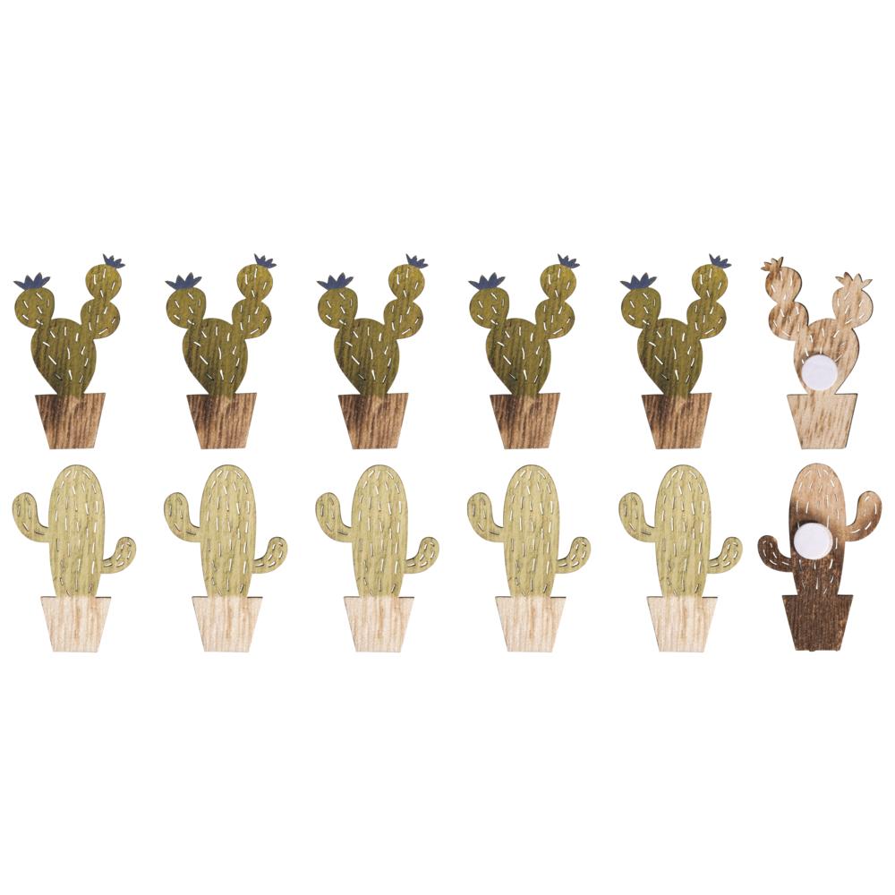 Holz-Streuteile Kakteen mit Klebepunkt, 2,8x 4,3-4,5cm, SB-Btl 12Stück