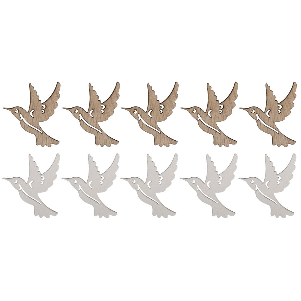 Holz-Streuteile Kolibri, 4x4cm, weiß/natur, SB-Btl 10Stück