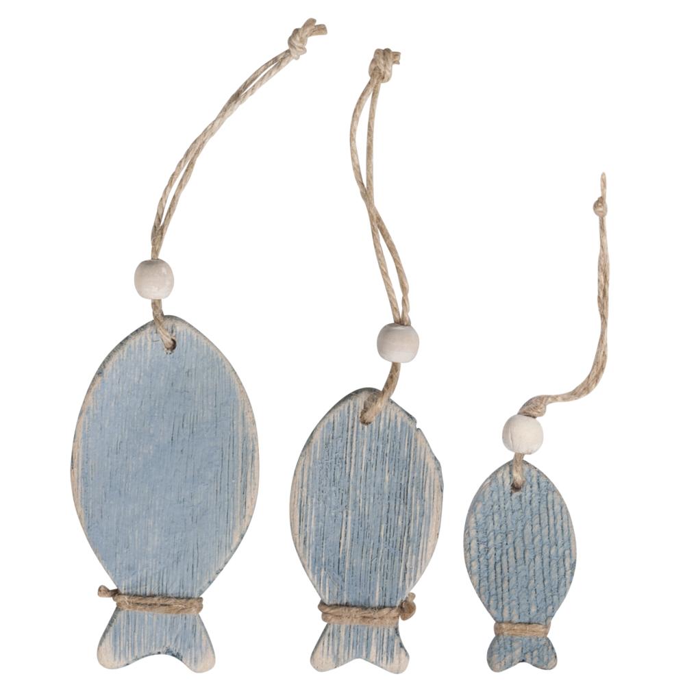 Holz-Fische zum Hängen, 6+8+10cm, SB-Btl 3Stück, hellblau