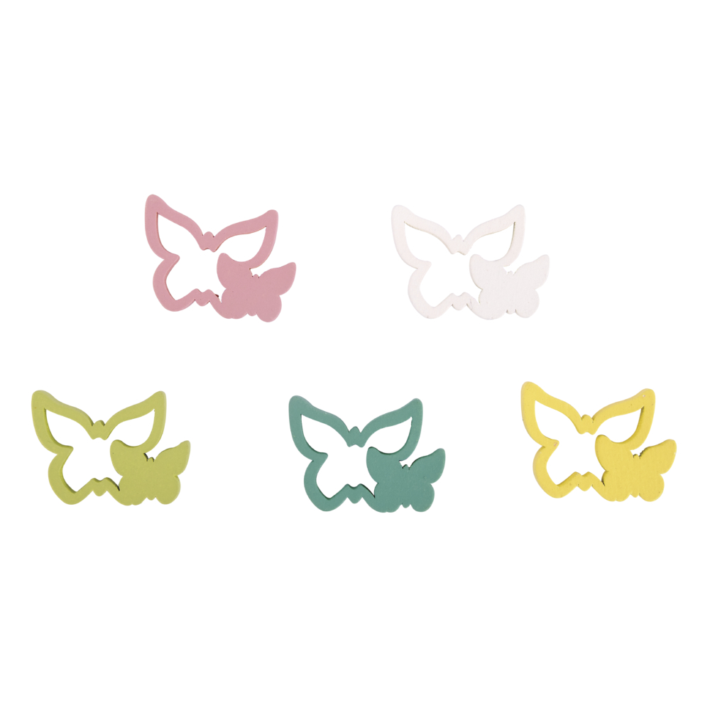 Holz-Streuteile Schmetterlinge, 2,9x2cm, SB-Btl 15Stück