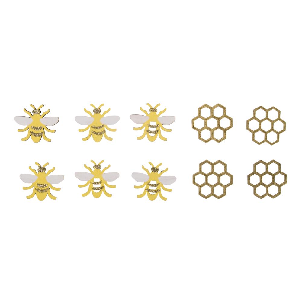 Holz-Streuteile Bienen, 2,9x2,5cm, sortiert, SB-Btl 10Stück