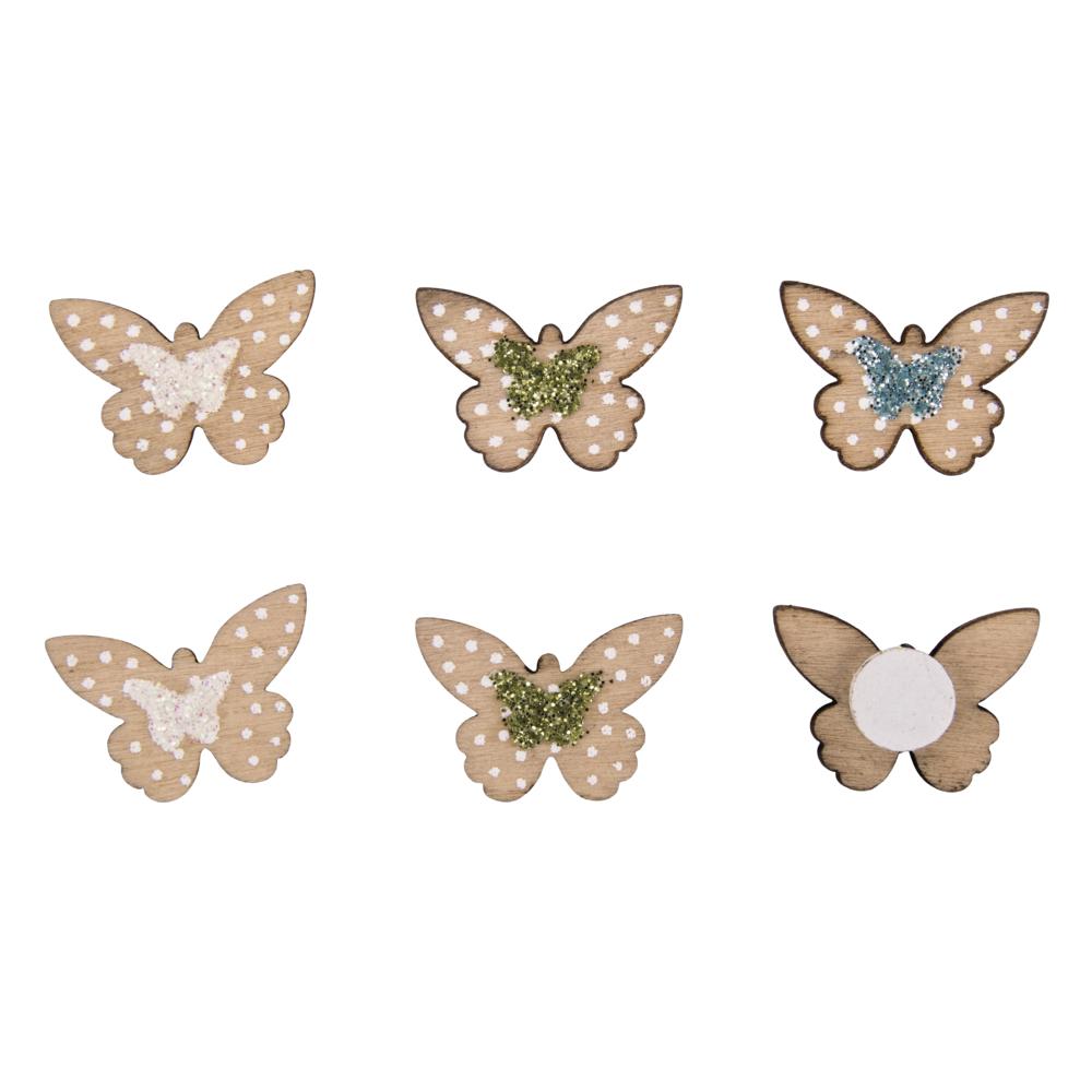 Holz-Streuteile Mini Schmetterlinge, 2,5x1,4cm, m.Klebep., SB-Btl 12Stück