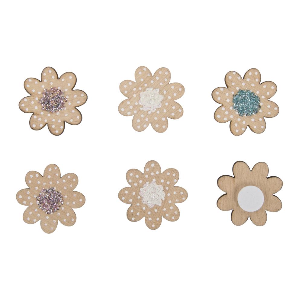 Holz-Streuteile Mini Blüten, 2,1cm ø, m.Klebep., SB-Btl 12Stück