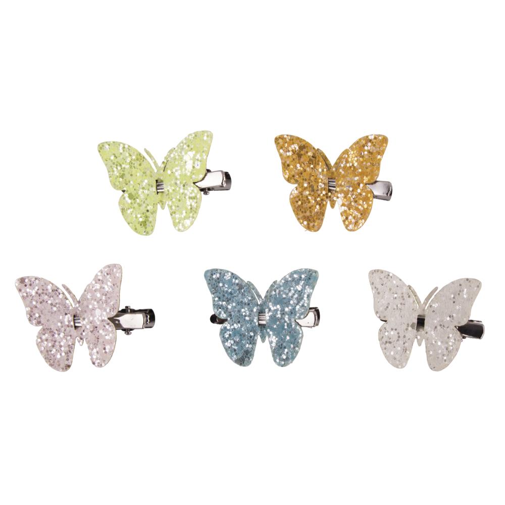 Glitter-Schmetterlinge auf Klammer, 4x3,6cm, farbl. sortiert, SB-Btl 5Stück, bunt