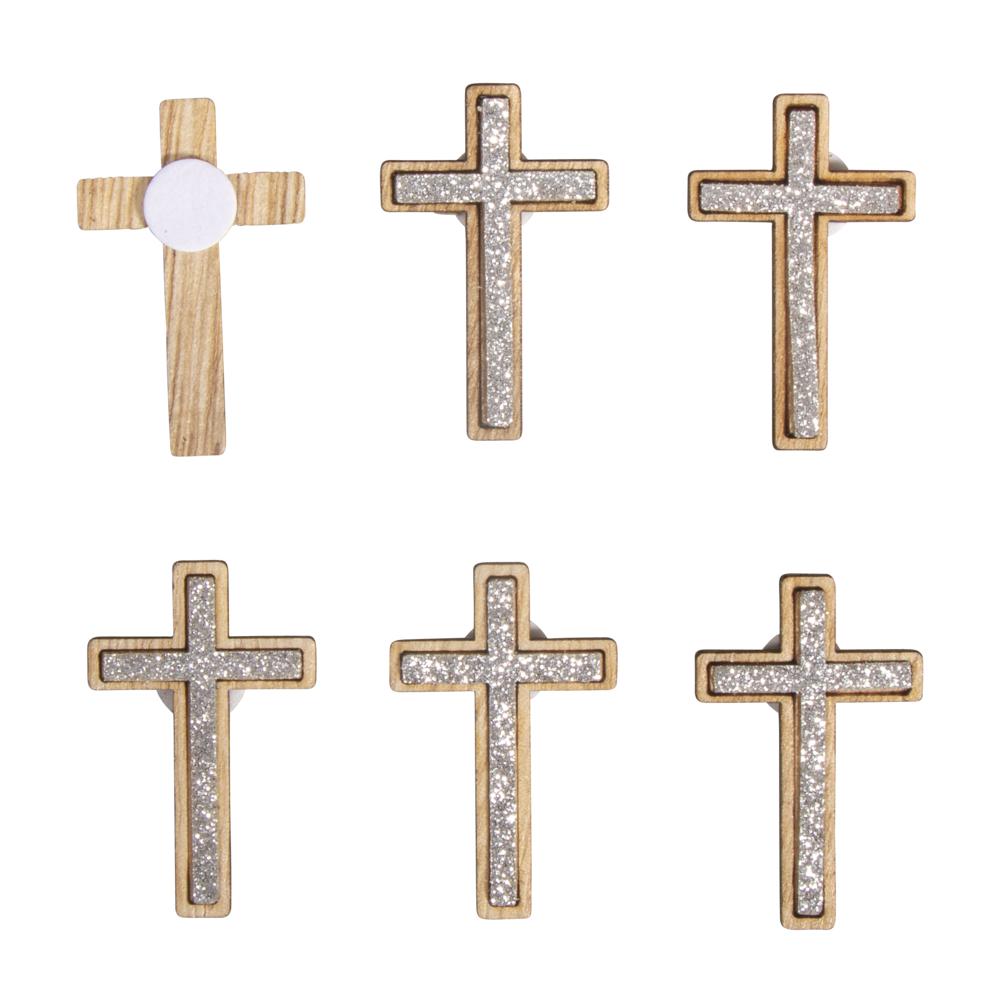 Holz Streuteile Kreuz, 2,5x4cm, m. Klebepunkt, SB-Btl 12Stück, silber