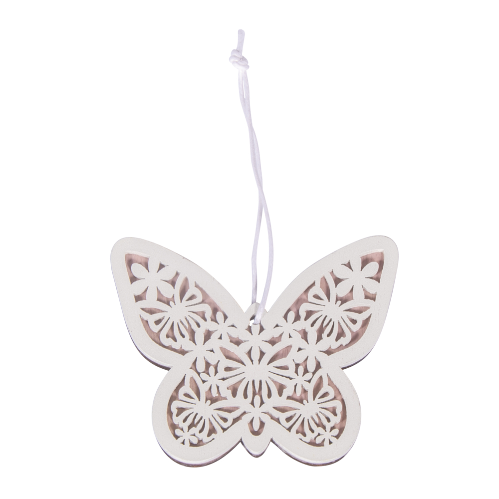 Holz-Schmetterling zum Hängen, 7x6,5cm, SB-Btl 2Stück