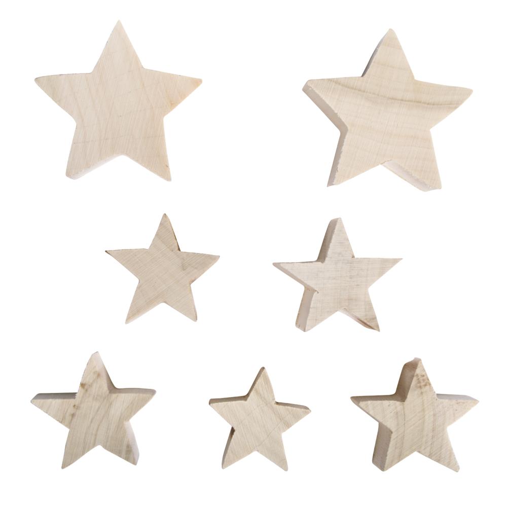Holz Sterne, sortiert, 2x6cm + 5x4cm, Box 7Stück, natur