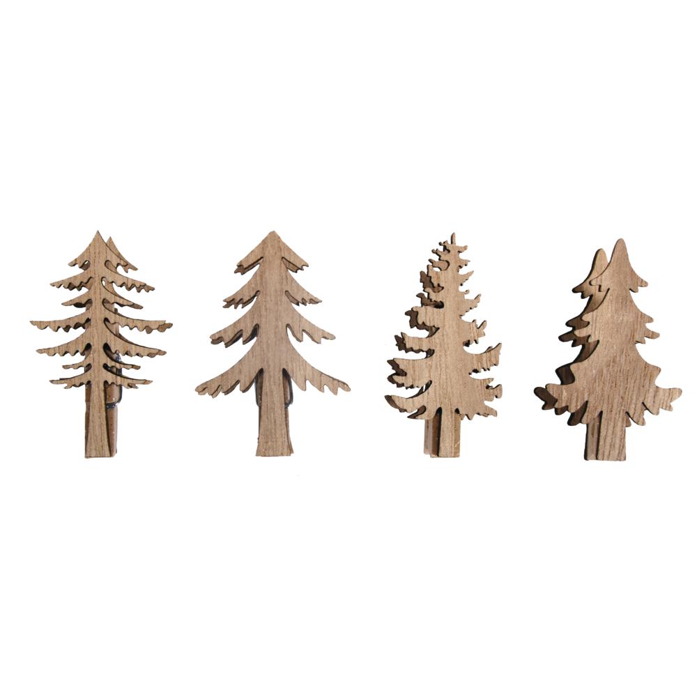 Holz Tannenbaum auf Klammer, 2,5x5,2cm - 3,5x,5,2cm, Box 4Stück, natur