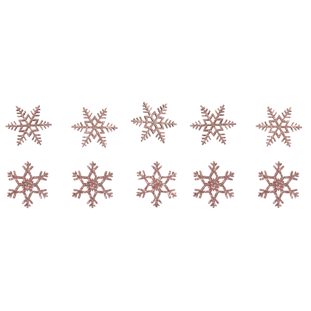 Holz Streuteile Schneeflocken, 3,5cm ø, 2 Designs, SB-Btl 10Stück, rosé