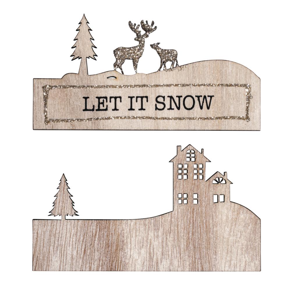 Holzdeko m. Schrift LET IT SNOW, 11x6,2cm, 2-tlg., SB-Btl 1Stück