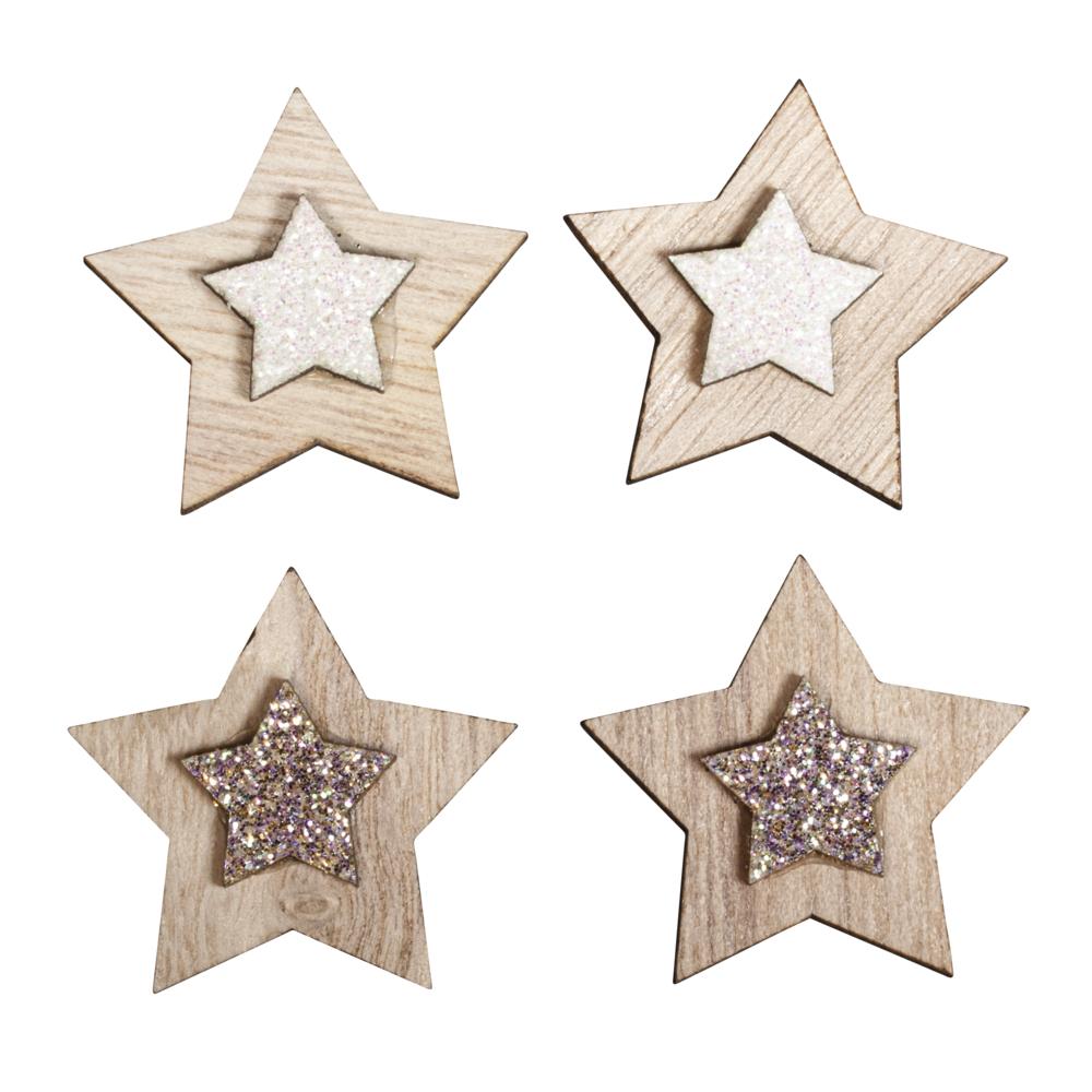 Holz Streuteile Sterne, 3cm ø, sort. m. Klebepunkt, SB-Btl 10Stück