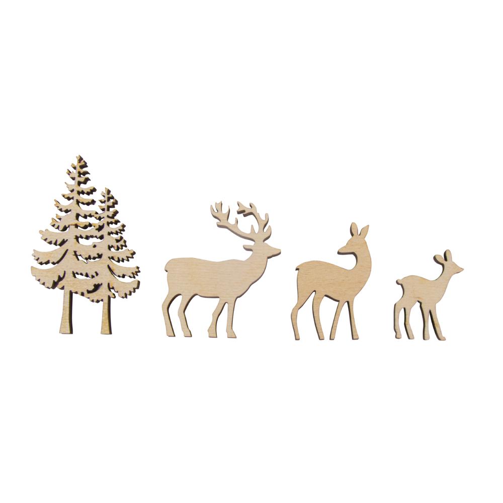 Holz-Streudeko Baum/Hirsch, FSC Mix Cred, 4tlg., 4-8cm, Stärke 5mm, SB-Box 1Set, natur