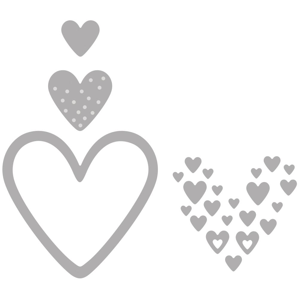 Stanzschablonen Set: Herzen, 0,4-6,3cm x 0,4-6cm, SB-Btl 4Stück