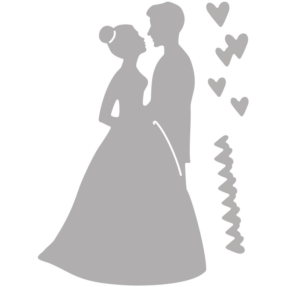 Stanzschablone: Brautpaar, 0,6-8,5cm x 0,5-5cm, SB-Btl 3Stück
