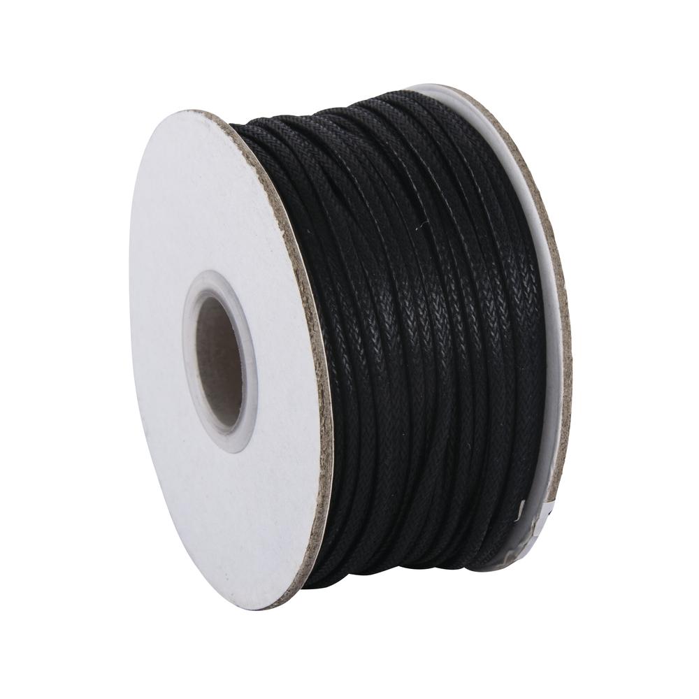 Baumwoll-Kordel, gewachst, 2 mm ø, Rolle 25 m, schwarz