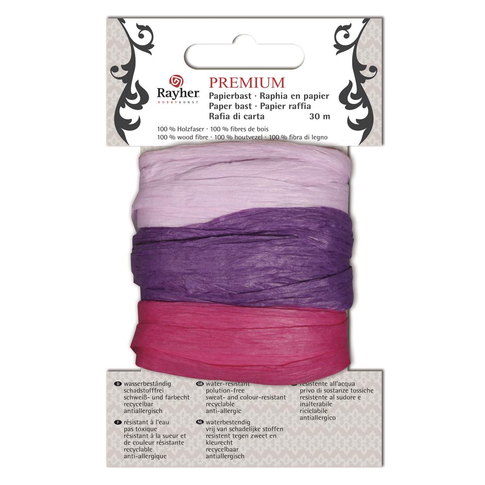 Premium Papierbast, aus 100% Holzfaser, je Fb.10m, Karte 30m, flieder/lila/pink