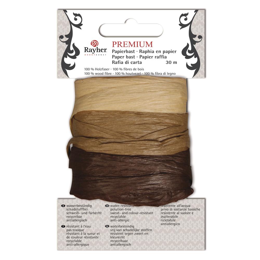 Premium Papierbast, aus 100% Holzfaser, je Fb.10m, Karte 30m, braun-Töne