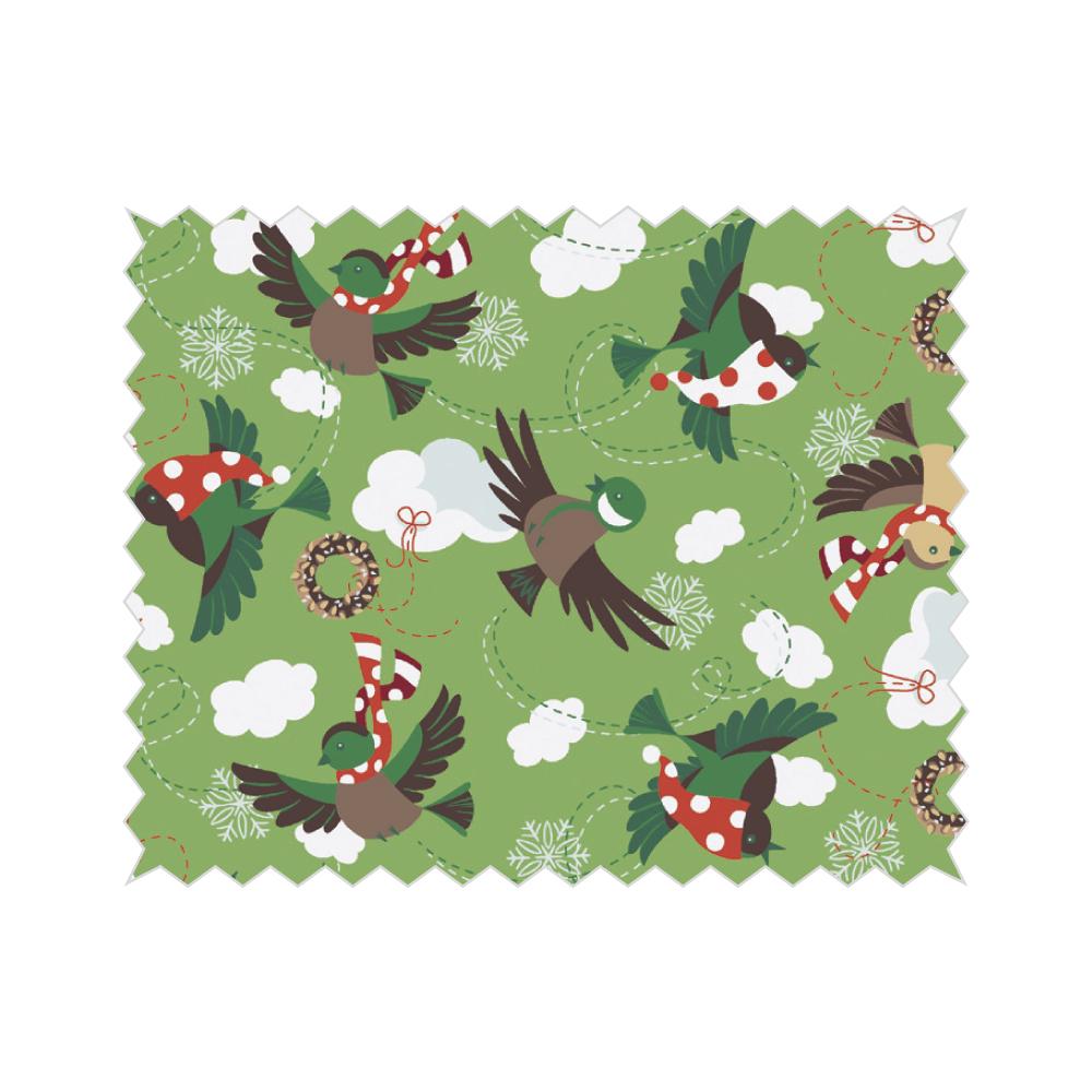 Baumwoll- Stoff: Wintervögel, 50x65cm, 135g/m², SB-Btl 1Stück, wiesengrün