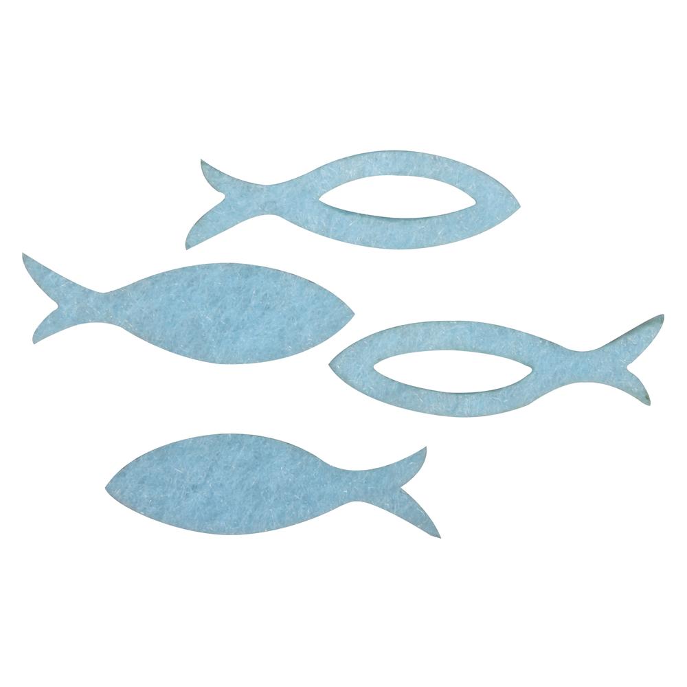 Filz Streuteile Fisch, 3,5x1x0,2cm, 2 Sorten , SB-Btl 36Stück