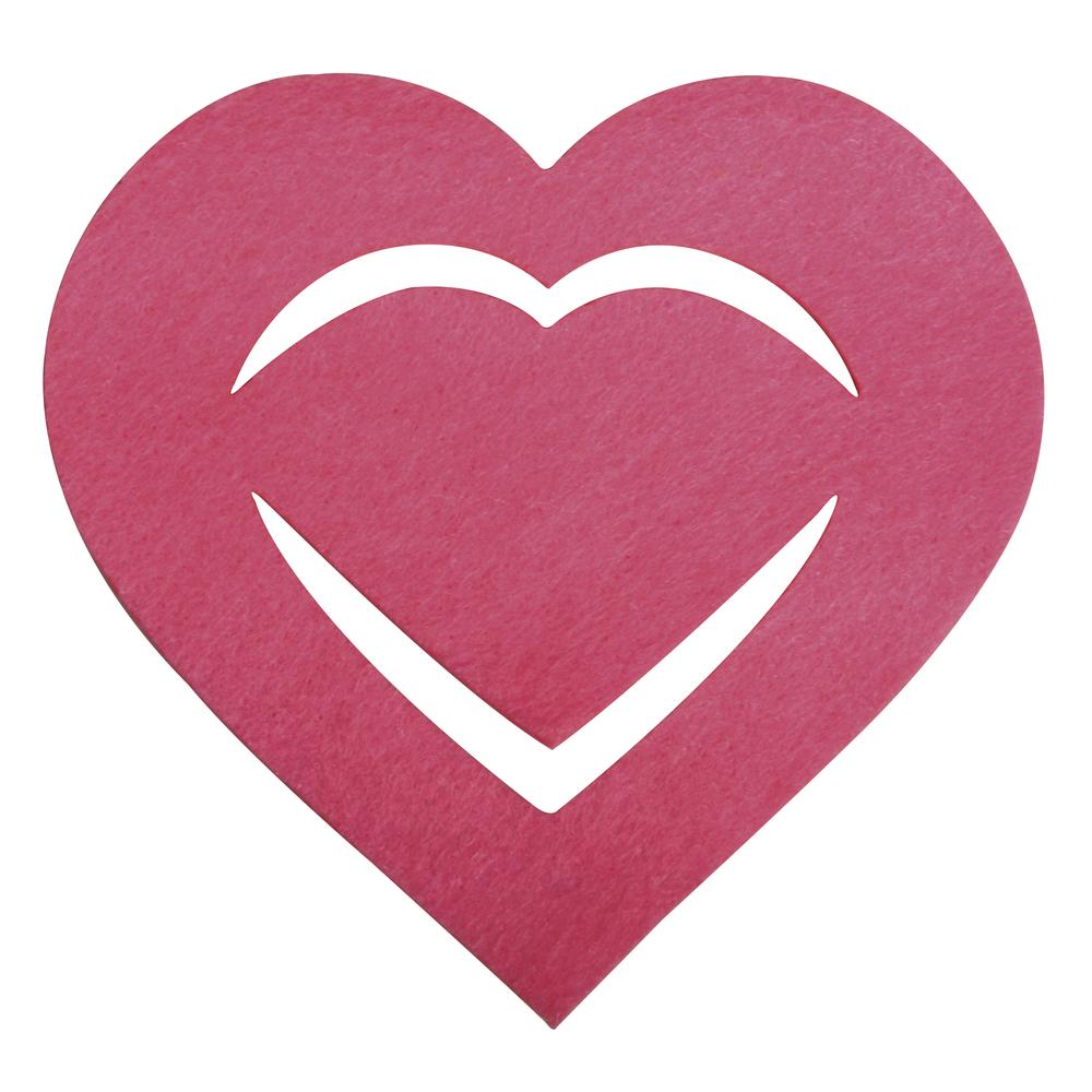 Filz Manschette für Servietten Herz, 10,5x10x0,2cm, SB-Btl 6Stück, pink