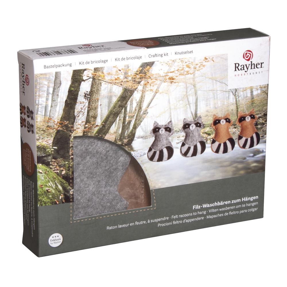 Bastelpackung: Filz Waschbären zum Hängen, 8cm, 2 Farben sortiert, Set 4Stück