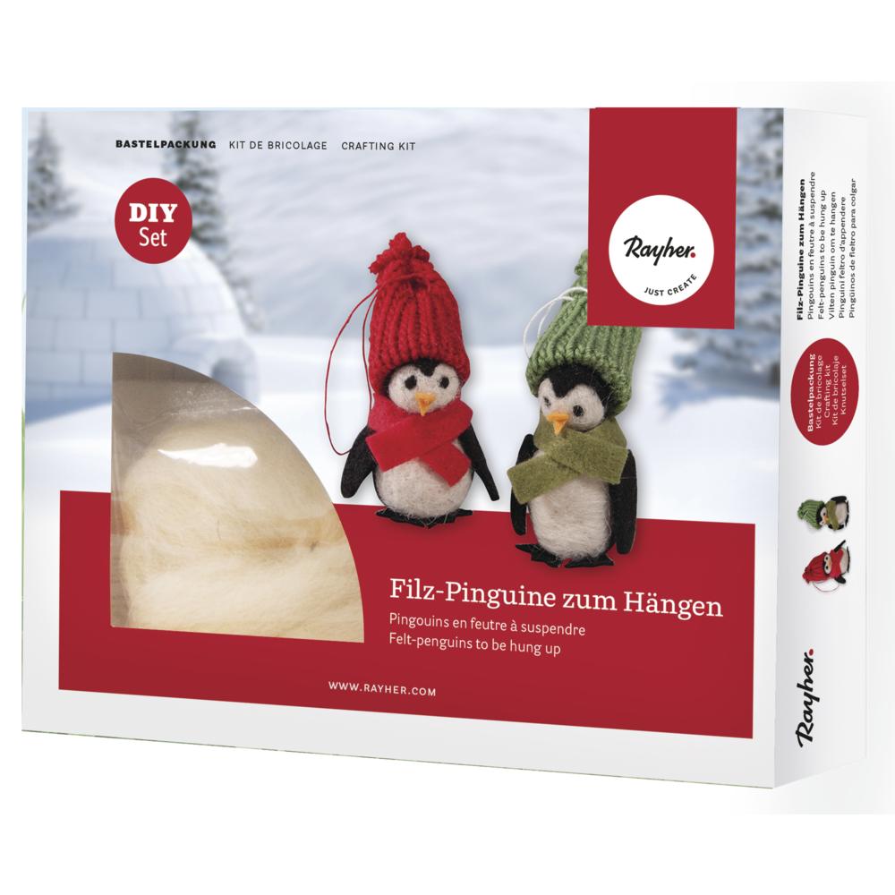Bastelpackung: Filz-Pinguine zum Hängen, 8cm, Box 2Stück