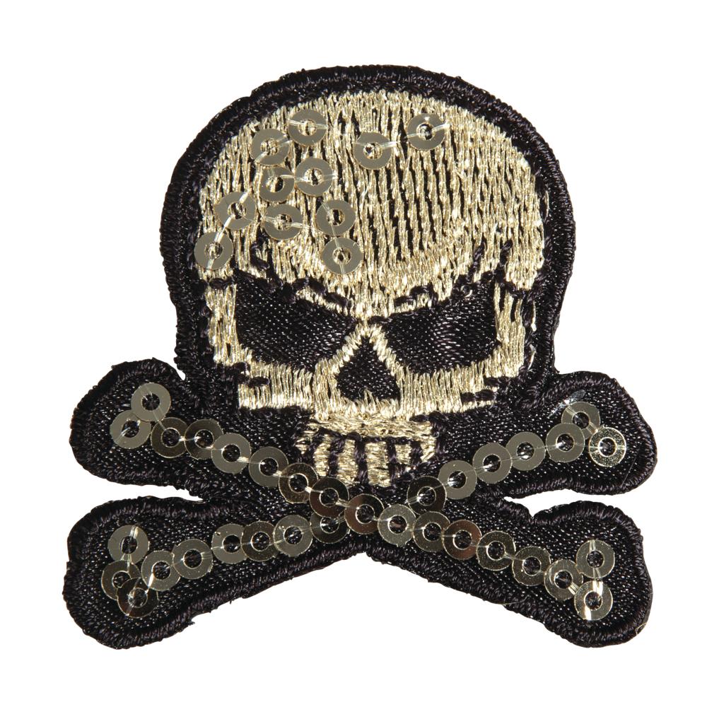 Patch Skull and bones, 4,2x4cm, zum Aufbügeln, SB-Btl. 1Stück