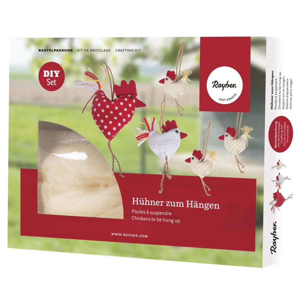 Bastelpackung: Hühner zum hängen, 6,5x7,5cm-14x22cm, Box 5Stück