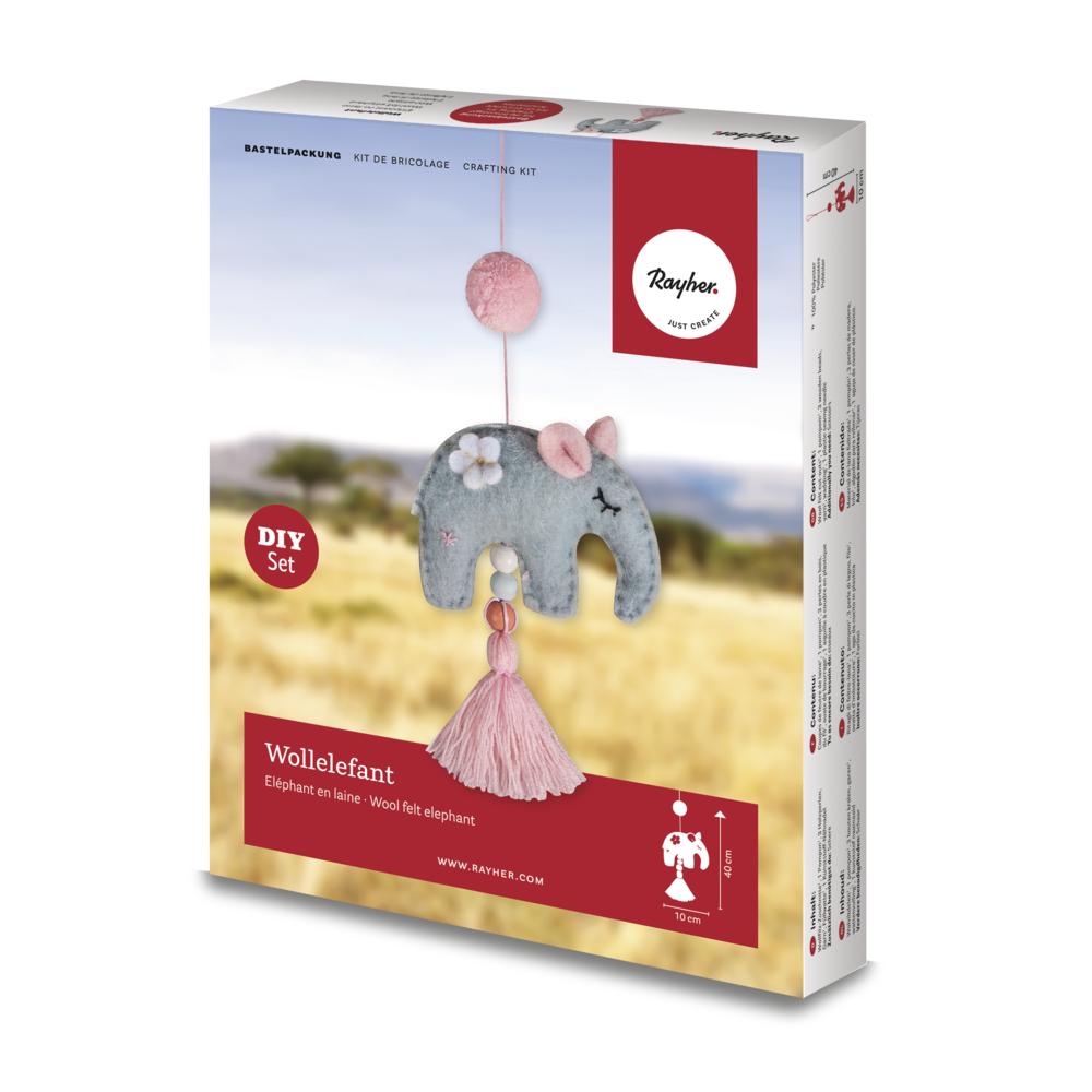 Bastelpackung: Wollelefant, 10x5x40cm, Box 1Stück