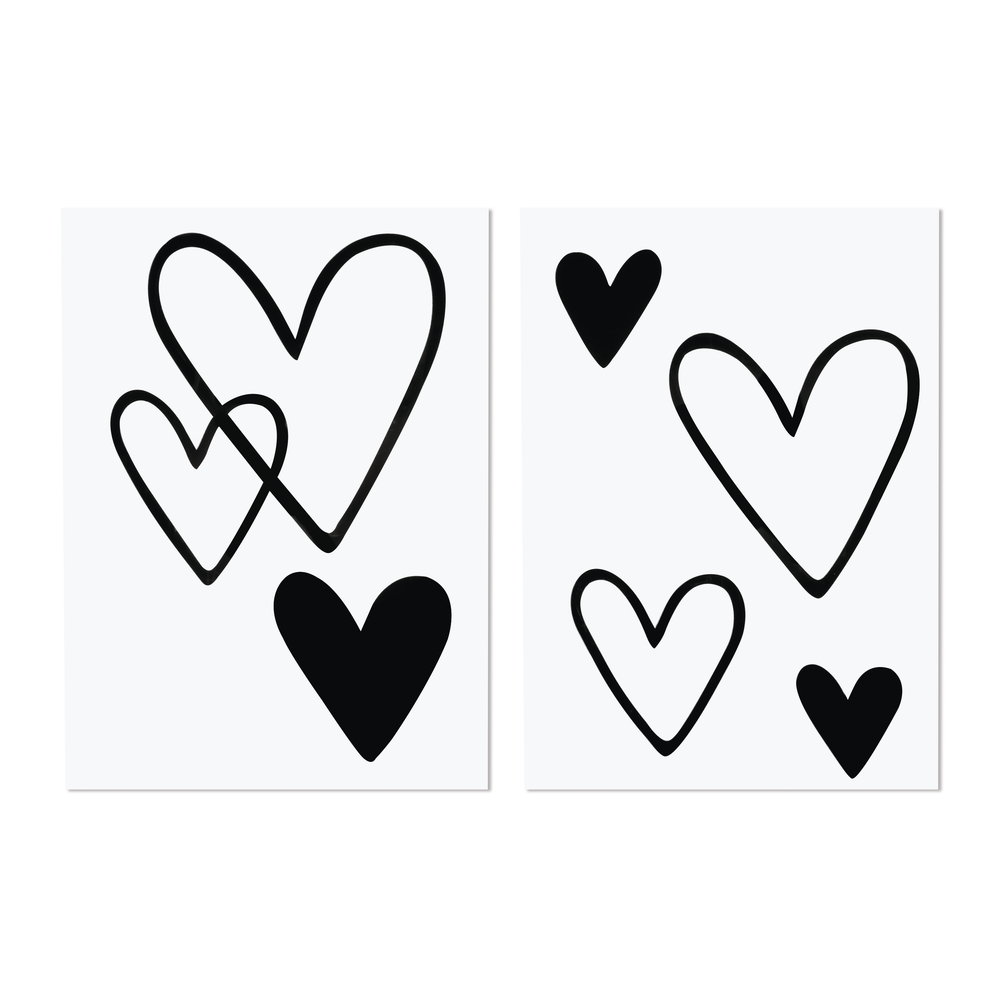 Bügel-Transferfolie Herz, 6 Stück, 3,7-11 x 4-12cm, SB-Btl 2Bogen, schwarz