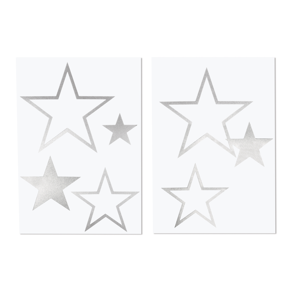 Bügel-Transferfolie Stern, 6 Stück, 4-14,5 x 4-11,5cm, SB-Btl 2Bogen, silber