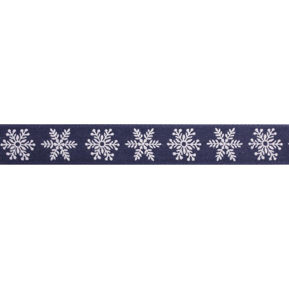 Dekoband Schneeflocken, 25mm, m. formstabiler Kante, Rolle 20m, nachtblau