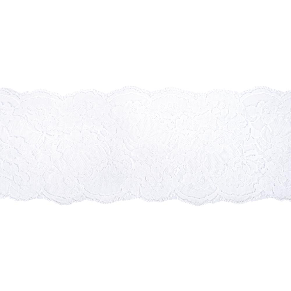 Spitzenband mit Blüten, 13cm, SB-Btl 7,5m, weiß