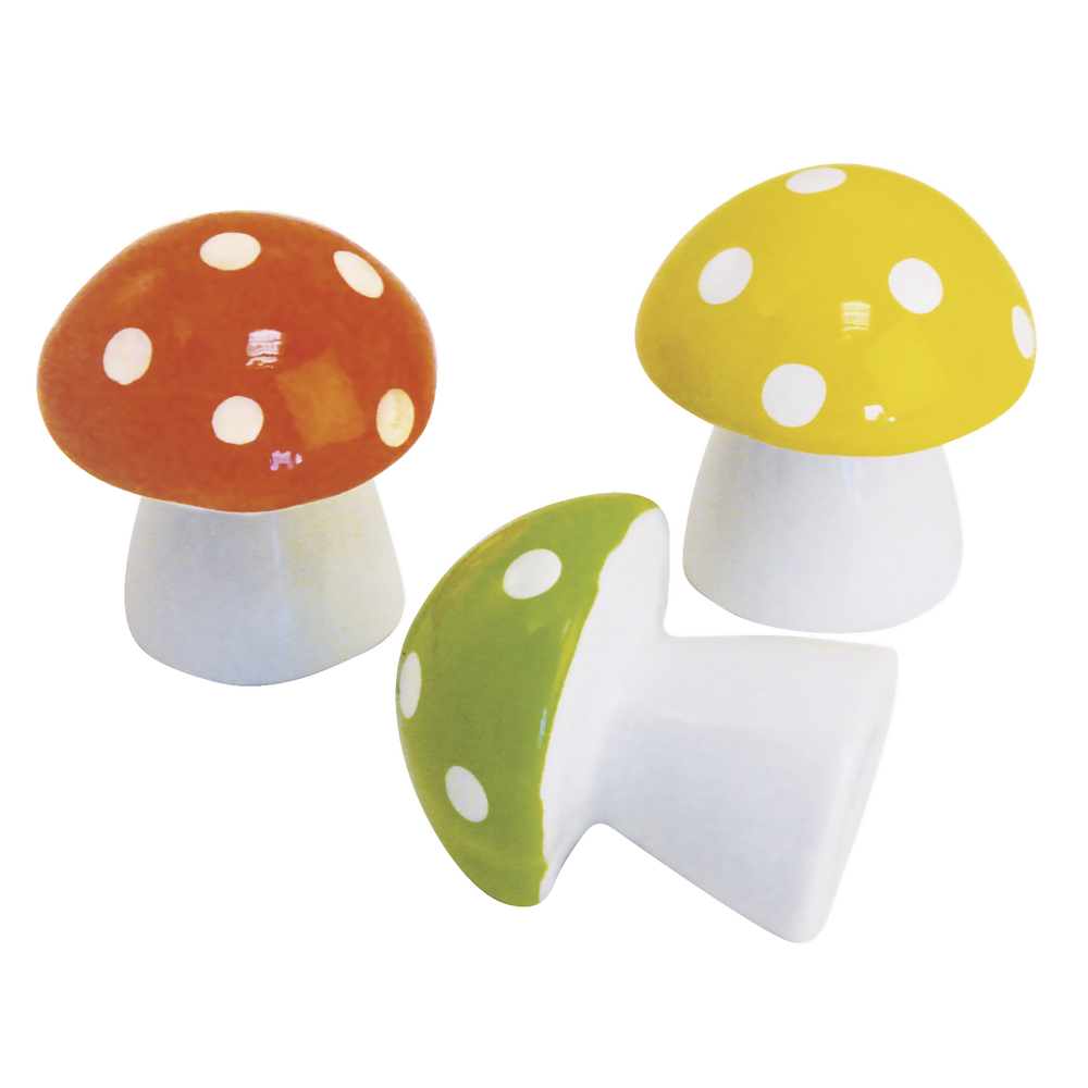 Porzellan-Pilz, 6 cm, PVC-Box, Set 3 Stück versch.Farben