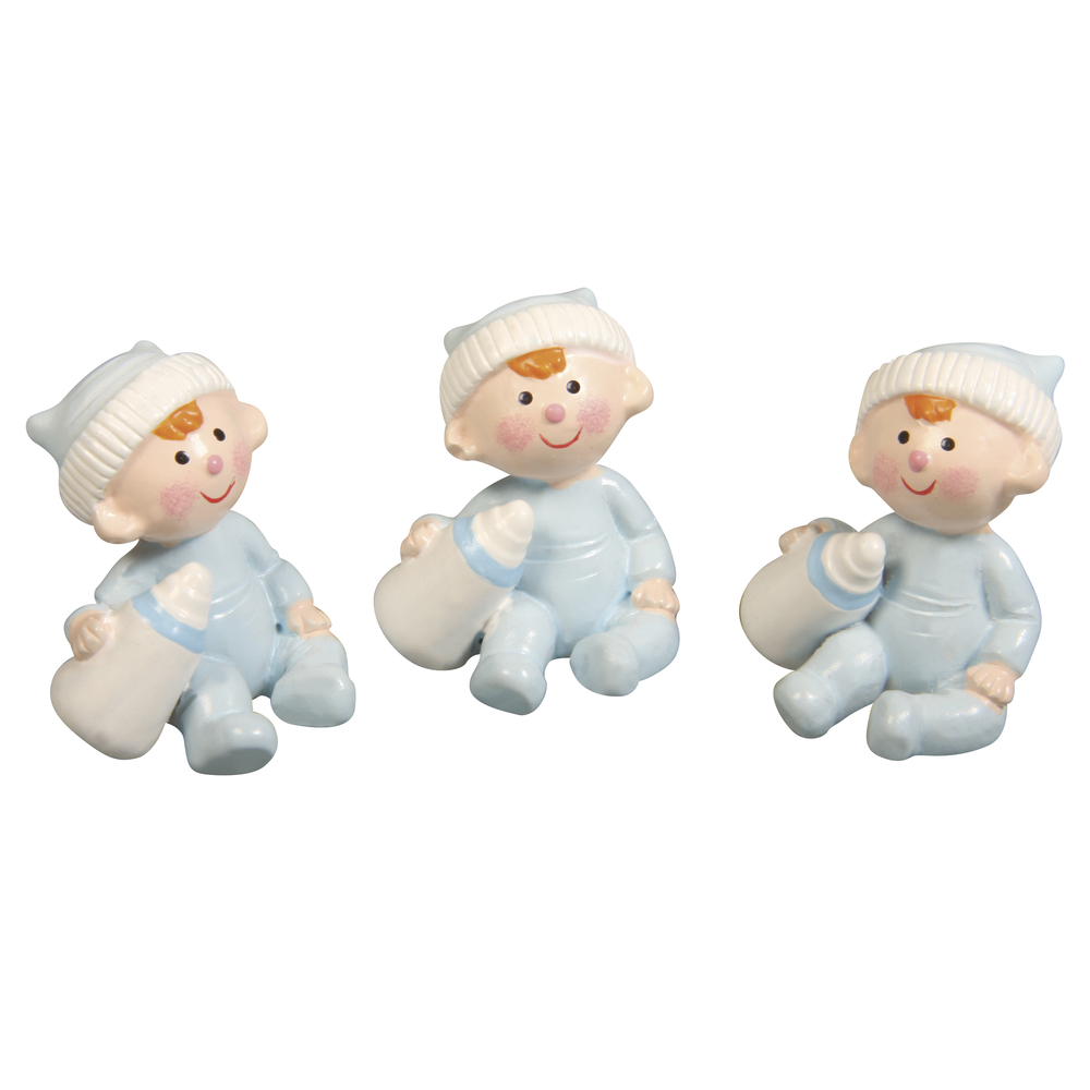 Polyresin Baby Boy, 3x2,5cm, Box 3Stück, babyblau