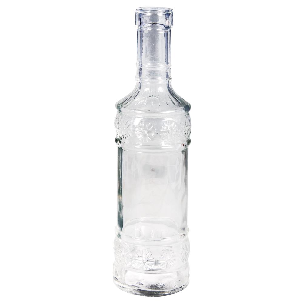 Glas Flasche, 21cm, øunten:6cm, ø oben:2,3cm (Öffnung)