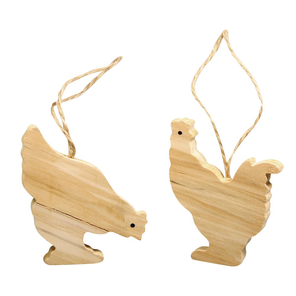 Holz Hänger Hühner m. Jute-Hänger, 6x4,5cm, 2 Sorten, Beutel 6Stück