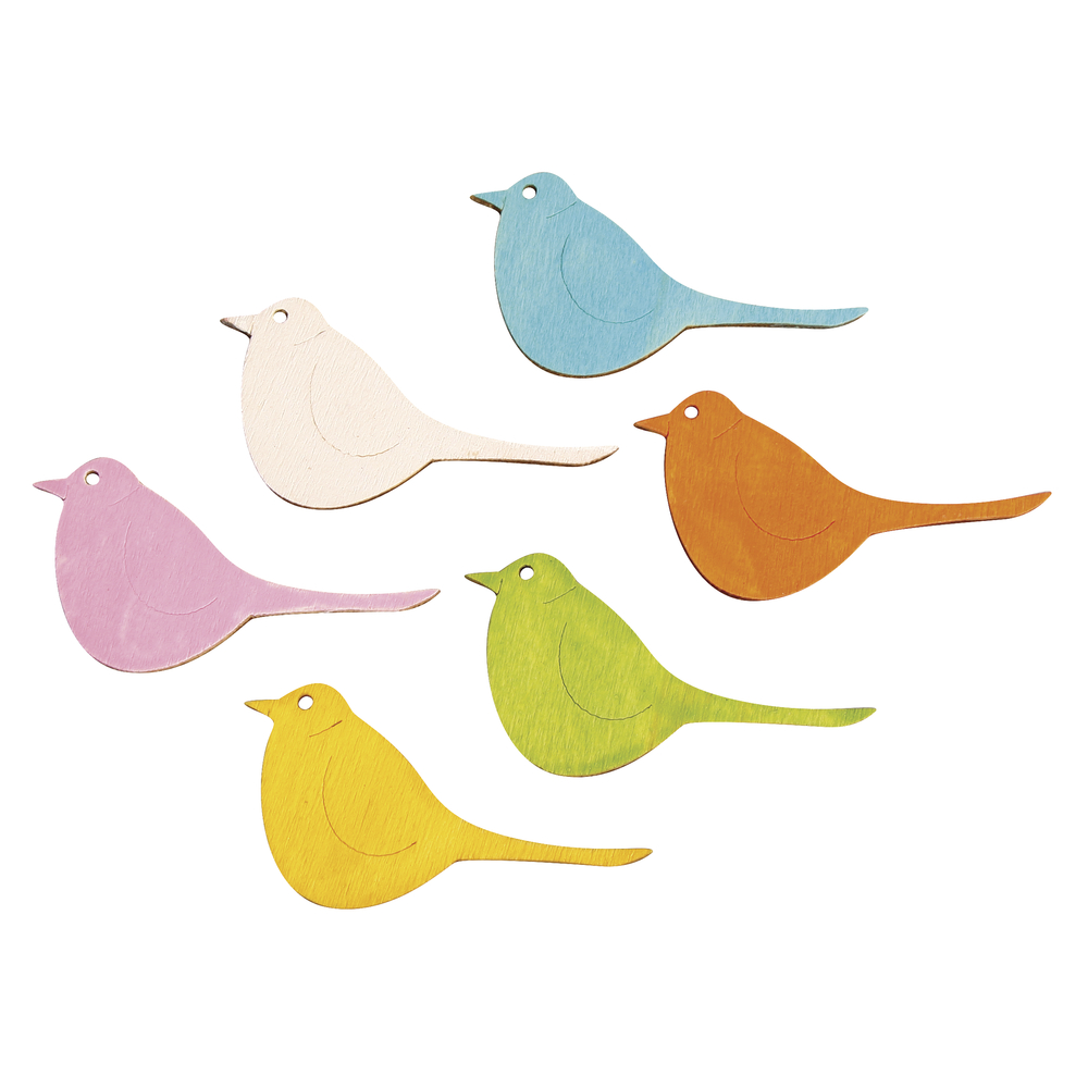 Holz Streuteile Vögel, 3x5,5cm, 6 Farben, SB-Btl 12Stück